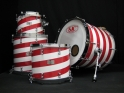 drum kit red white stripes