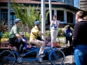 Riding tandem with Portland Mayor photo by Daniel Stark